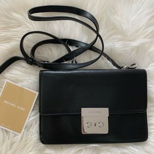 MICHAEL KORS Black & Silver Envelope Clutch